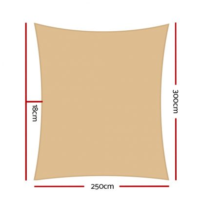 Instahut 2.5x3m Shade Sail Sun Shadecloth 280gsm Sand