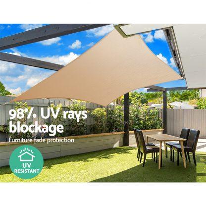 Instahut 3x6m Shade Sail Sun Shadecloth Canopy 280gsm Sand