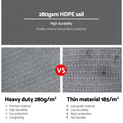 Instahut Sun Shade Sail Cloth Shadecloth Outdoor Canopy Rectangle 280gsm 5x6m