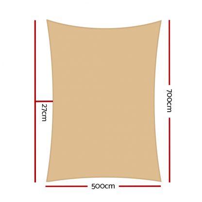 Instahut 280gsm 5x7m Sun Shade Sail Canopy Rectangle