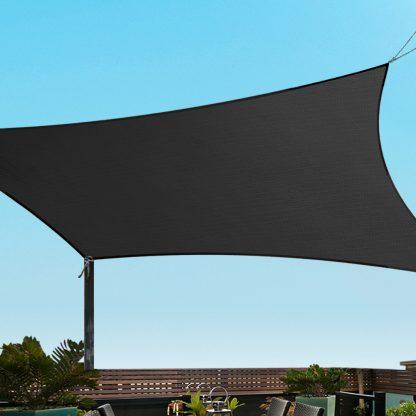 Instahut 6x8m Shade Sail Sun Shadecloth 280gsm Black