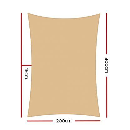 Instahut Sun Shade Sail Cloth Shadecloth Rectangle Heavy Duty Sand Canopy 2x4m
