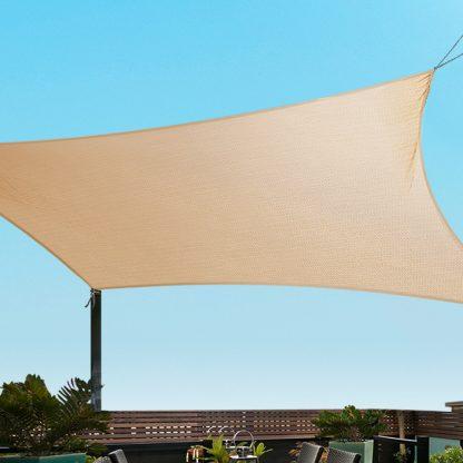 Instahut 3x6m Shade Sail Cloth Shadecloth Rectangle Heavy Duty Sand Sun Canopy