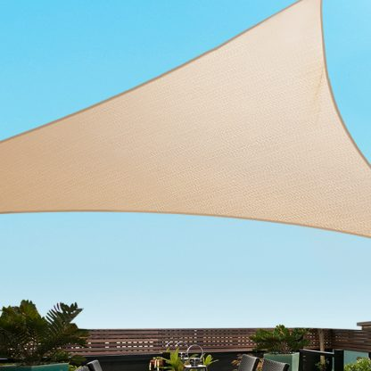Instahut 5x5x5m Shade Sail Cloth Shadecloth Triangle Heavy Duty Sand Sun Canopy
