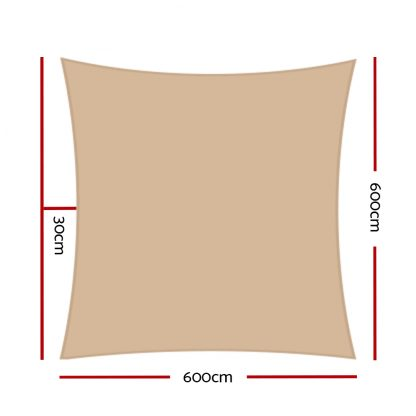 Instahut Shade Sail Cloth Rectangle Shadesail Heavy Duty Sand Sun Canopy 6x6m