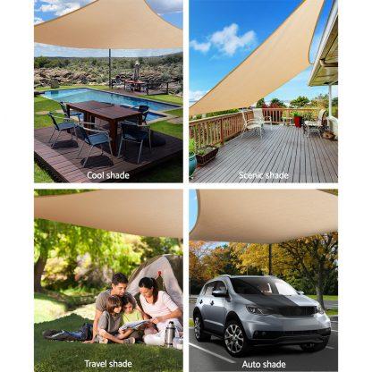 Instahut Shade Sail Cloth Rectangle Shadesail Heavy Duty Sand Sun Canopy 6x8m