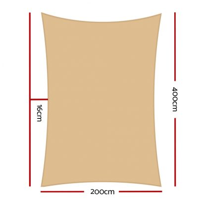 Instahut 2 x 4m Waterproof Rectangle Shade Sail Cloth - Sand Beige