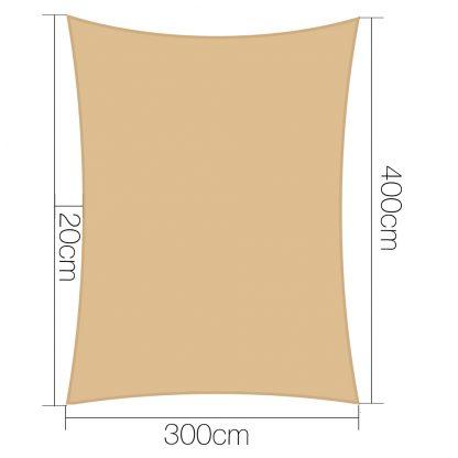 Instahut 3 x 4m Waterproof Rectangle Shade Sail Cloth - Sand Beige