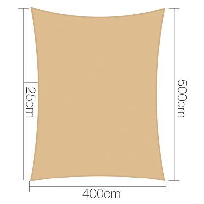 Instahut 4 x 5m Waterproof Rectangle Shade Sail Cloth - Sand Beige
