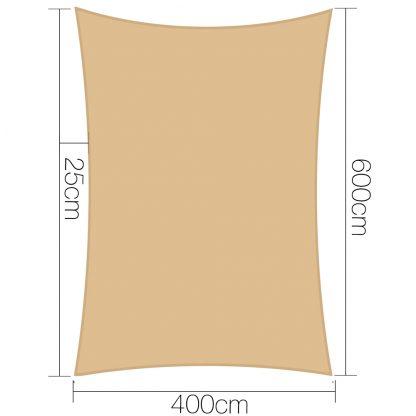 Instahut 4 x 6m Waterproof Rectangle Shade Sail Cloth - Sand Beige