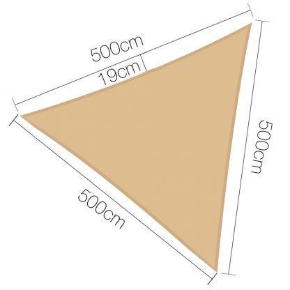 Instahut 5 x 5 x 5m Waterproof Triangle Shade Sail Cloth - Sand Beige