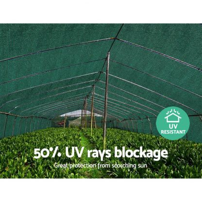 Instahut 50% UV Sun Shade Cloth Shadecloth Sail Roll Mesh Garden Outdoor 1.83x50m Green