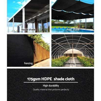 Instahut 70% UV Sun Shade Cloth Shadecloth Sail Roll Mesh Garden Outdoor 1.83x50m Black