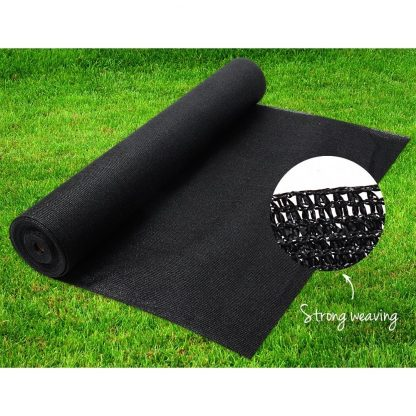 Instahut 70% UV Sun Shade Cloth Shadecloth Sail Roll Mesh Garden Outdoor 3.66x10m Black