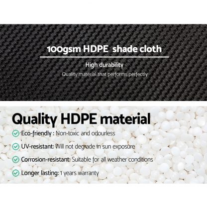 Instahut 3.66x20m 50% UV Shade Cloth Shadecloth Sail Garden Mesh Roll Outdoor Black