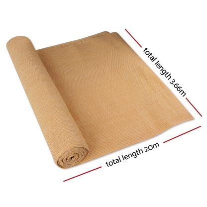 Instahut 3.66 x 20m Shade Sail Cloth - Beige