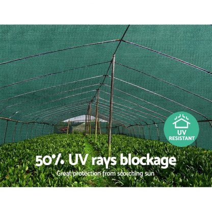Instahut 3.66x30m 50% UV Shade Cloth Shadecloth Sail Garden Mesh Roll Outdoor Green