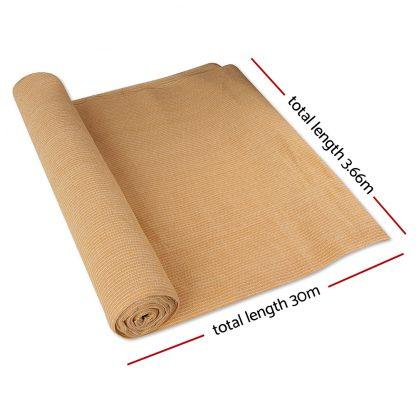Instahut 70% UV Sun Shade Cloth Shadecloth Sail Roll Mesh Outdoor 3.66x30m Beige