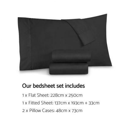 Giselle Bedding Double Size 1000TC Bedsheet Set - Black