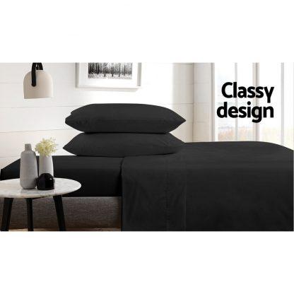 Giselle Bedding King Size 1000TC Bedsheet Set - Black
