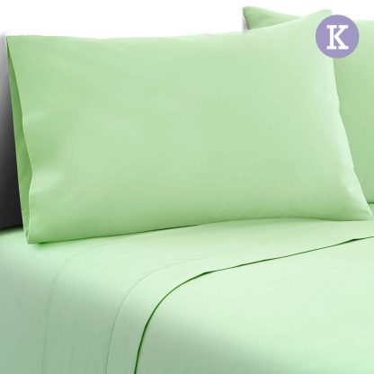 Giselle Bedding King Size 4 Piece Micro Fibre Sheet Set - Apple