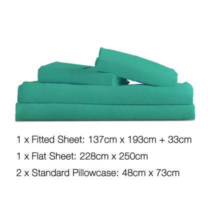 Giselle Bedding Double Size 4 Piece Micro Fibre Sheet Set - Aqua
