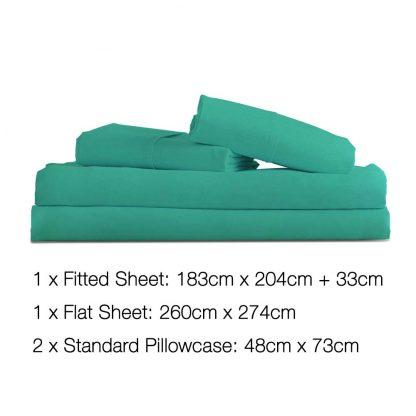 4 Piece Microfibre Sheet Set King – Aqua