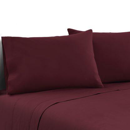 Giselle Bedding Queen Burgundy 4pcs Bed Sheet Set Pillowcase Flat Sheet