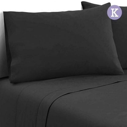 Giselle Bedding King Size 4 Piece Micro Fibre Sheet Set - Black