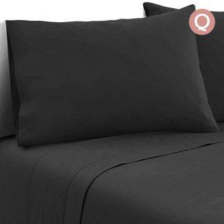Giselle Bedding Queen Size 4 Piece Micro Fibre Sheet Set - Black