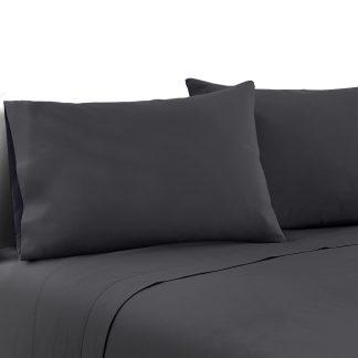 Giselle Bedding Double Charcoal 4pcs Bed Sheet Set Pillowcase Flat Sheet