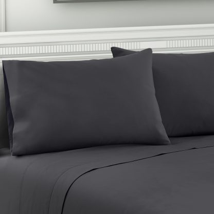 Giselle Bedding King Charcoal 4pcs Bed Sheet Set Pillowcase Flat Sheet
