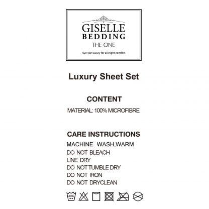Giselle Bedding Queen Charcoal 4pcs Bed Sheet Set Pillowcase Flat Sheet