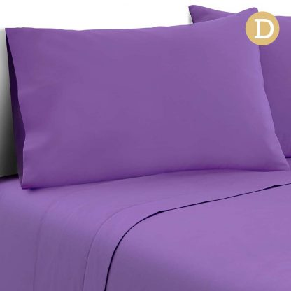Giselle Bedding Double Size 4 Piece Micro Fibre Sheet Set - Purple