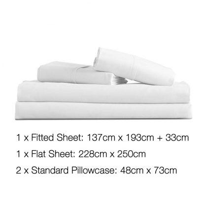 Giselle Bedding Double Size 4 Piece Micro Fibre Sheet Set - White