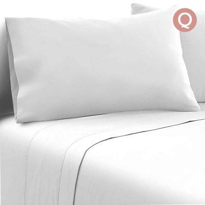 Giselle Bedding Queen Size 4 Piece Micro Fibre Sheet Set - White