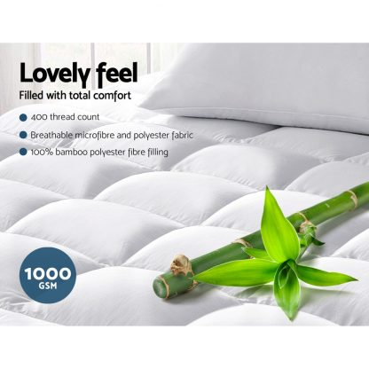 Giselle Queen Mattress Topper Bamboo Fibre Pillowtop Protector