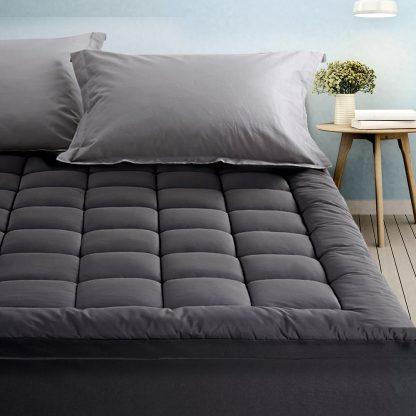 Giselle Queen Mattress Topper Pillowtop 1000GSM Charcoal Microfibre Bamboo Fibre Filling Protector
