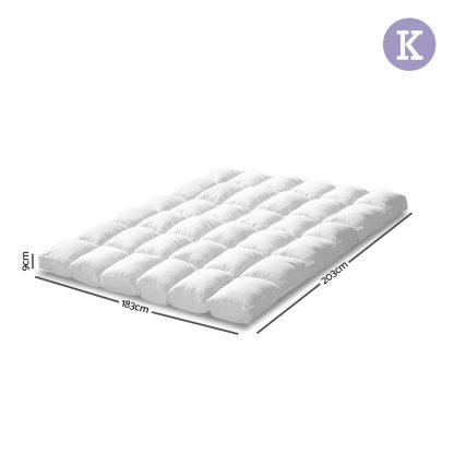 Giselle KING 1800GSM Mattress Topper Duck Feather Down 9cm Pillowtop Topper
