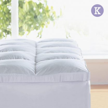 Giselle KING Mattress Topper Goose Feather Down 1000GSM Pillowtop Topper