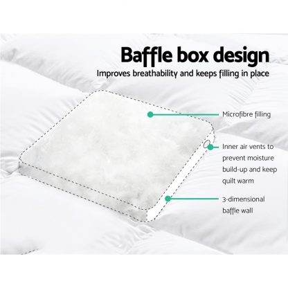 Giselle Queen Mattress Topper Pillowtop 1000GSM Microfibre Filling Protector