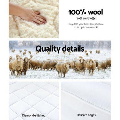 Giselle QUEEN Wool Underlay Mattress Topper Underblanket Cotton