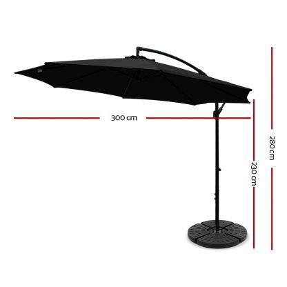 Instahut 3M Umbrella with 48x48cm Base Outdoor Umbrellas Cantilever Sun Beach Garden Patio Black
