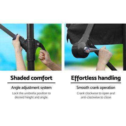 Instahut 3M Umbrella with 50x50cm Base Outdoor Umbrellas Cantilever Sun Stand UV Garden Black