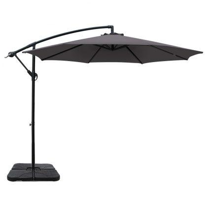 Instahut 3M Umbrella with 50x50cm Base Outdoor Umbrellas Cantilever Sun Stand UV Garden Charcoal
