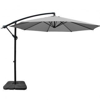 Instahut 3M Umbrella with 50x50cm Base Outdoor Umbrellas Cantilever Sun Stand UV Garden Grey