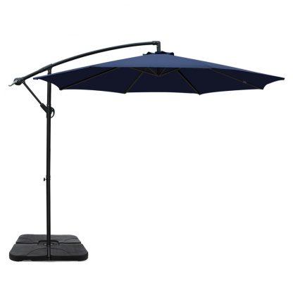 Instahut 3M Umbrella with 50x50cm Base Outdoor Umbrellas Cantilever Sun Stand UV Garden Navy