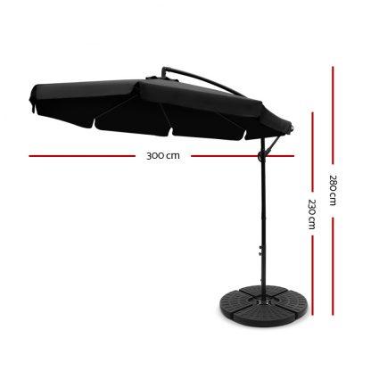 Instahut 3M Umbrella with 48x48cm Base Outdoor Umbrellas Cantilever Sun Beach UV Black