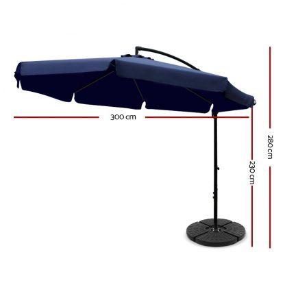 Instahut 3M Umbrella with 48x48cm Base Outdoor Umbrellas Cantilever Sun Beach UV Navy