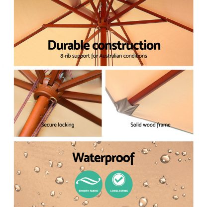 Instahut 2.7M Umbrella with Base Outdoor Pole Umbrellas Garden Stand Deck Beige